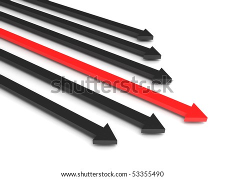 Competition. Black arrows and leading red arrow isolated on white background. High quality 3d render. - stock photo