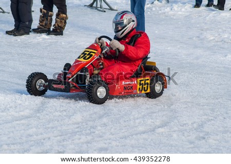 Competition (Go-kart) karting on ice in Cheboksary, Chuvash Republic. February 23, 2016.