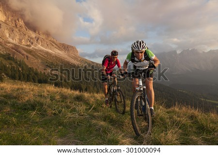 Competition in the middle of the Dolomites in South Tyrol at the Rosengarten
