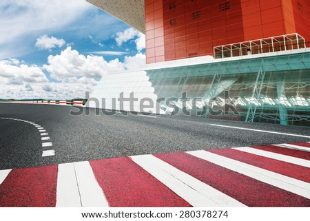 competition line on road - stock photo