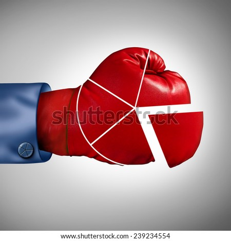 Competition market share loss business concept as a red boxing glove shaped as a financial pie chart diagram as a symbol for losing economic competitiveness. - stock photo