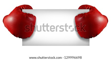 Competition sign with two red boxing gloves holding a blank white card as a business symbol of competitive sales or  an important announcement day special isolated on white. - stock photo