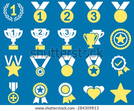 Competition & Success Bicolor Icons. This icon set uses yellow and white colors, rounded angles, blue background.