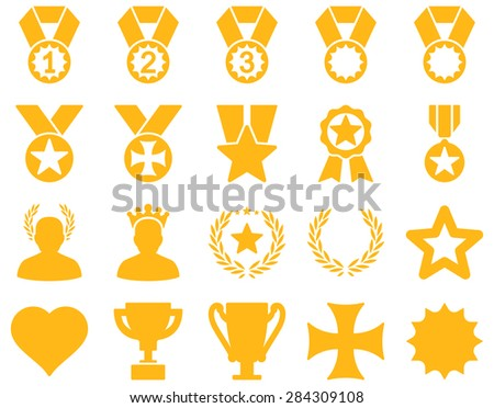 Competition & Success Bicolor Icons. This icon set uses yellow color, rounded angles, white background.