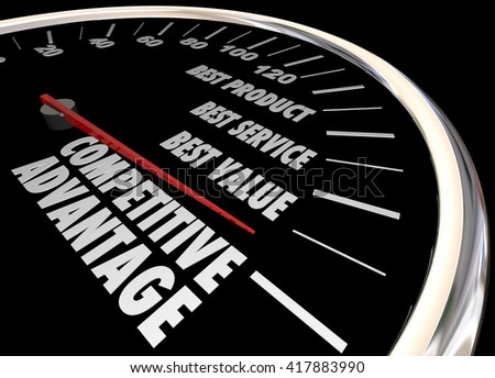Competitive Advantage Better Product Price Service Speedometer 3d Illustration - stock photo