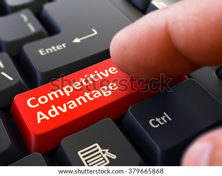 Competitive Advantage Red Button - Finger Pushing Button of Black Computer Keyboard. Blurred Background. Closeup View. 3D Render. - stock photo