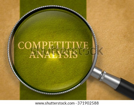 Competitive Analysis through Loupe on Old Paper with Dark Green Vertical Line Background. 3d Render. - stock photo