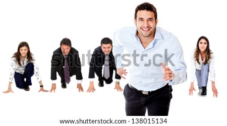 Competitive business people in a race - isolated over white backgorund