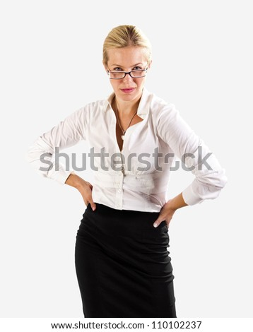 Competitive business woman on white