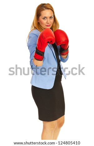 Competitive business woman with boxing gloves isolated on white background - stock photo