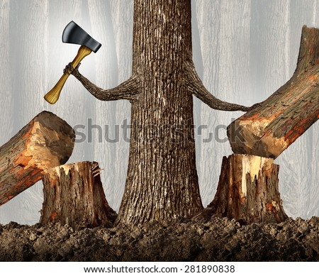 Competitive strategy concept as a ruthless tree eliminating competition by cutting them down as a career and ambition business idea as a metaphor with a powerful tree holding an ax. - stock photo