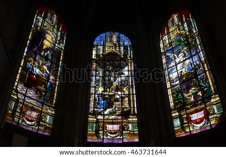 COMPIEGNE, FRANCE, JULY 16, 2016 : stained glass and  details of saint Antoine church, july 16, 2016 in Compiegne, Oise, France