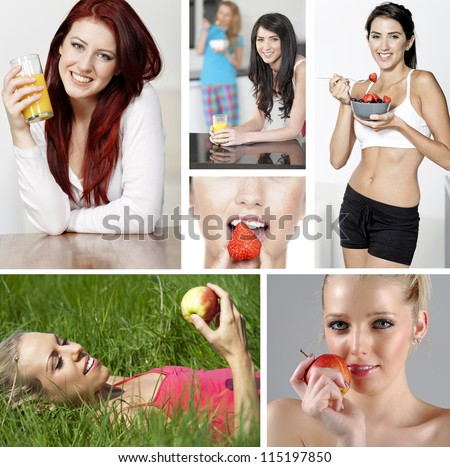 Compilation of beautiful young women in a healthy lifestyle - stock photo