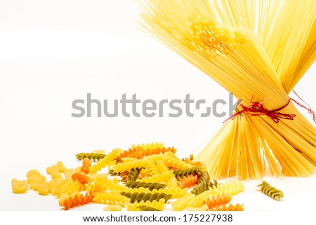 Compilation of isolated raw pasta with a space for text. Italian