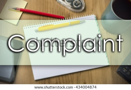 Complaint - business concept with text - horizontal image - stock photo