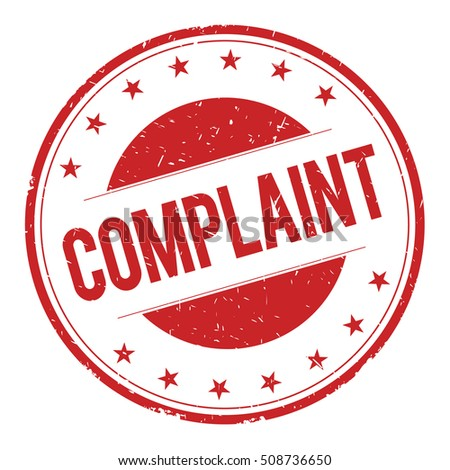 COMPLAINT stamp sign text word logo red.