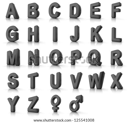 Complete alphabet set as perforated metal objects over white - stock photo