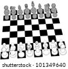 Complete black and white 3D Chess set game pieces and checker board as line drawing - stock vector
