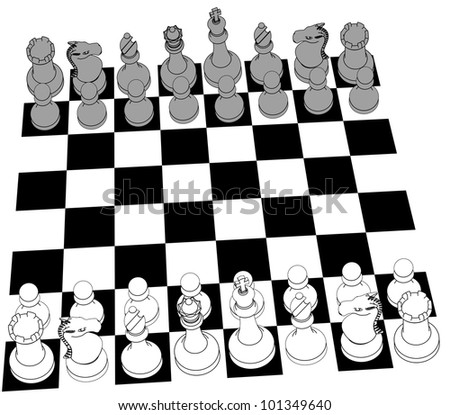 Complete black and white 3D Chess set game pieces and checker board as line drawing - stock photo