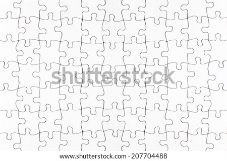complete blank jigsaw puzzle full frame - stock photo