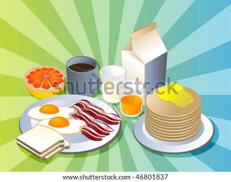 Complete breakfast with bacon pancakes coffee milk - stock photo