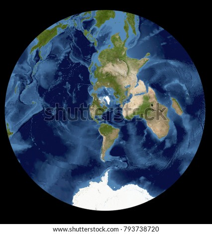 Complete earth view space high resolution stock illustration complete earth view from space high resolution world map illustration in cartographic projection data gumiabroncs Images