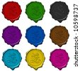 Complete floral alphabet letters on colored wax seals - stock photo