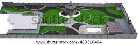 Complete garden landscaping master plan, 3d illustration - stock photo