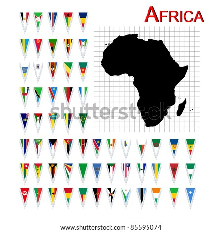 Complete set of African flags and map, isolated and grouped objects over white background