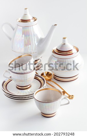 complete set of coffee service on a white background - stock photo