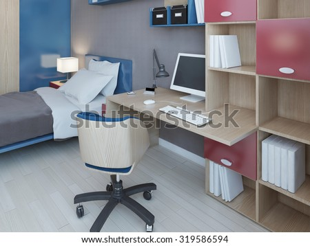 Complete set of furniture for children bedroom. 3D render