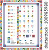 Complete Set of nautical flags and borders including drag and drop items for fills and brushes. - stock vector