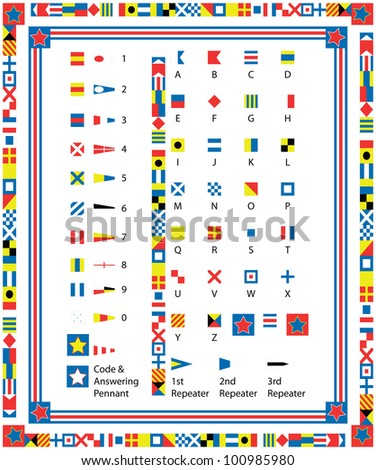 Complete Set of nautical flags and borders including drag and drop items for fills and brushes. - stock photo
