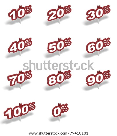Complete set of percent red sign over a white background - stock photo