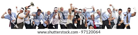 Complete team of injured businessmen after a rugby game - stock photo