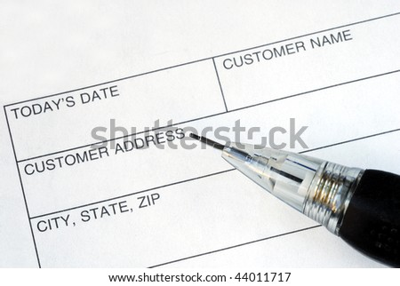 Complete the name and address for the customer - stock photo