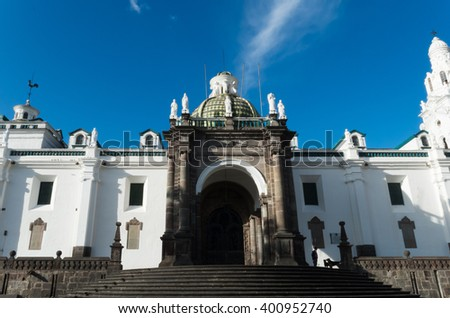 Complete view of the famouse cathedral of Quito city - stock photo