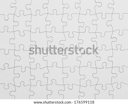 Complete White Puzzle with Copy Space.