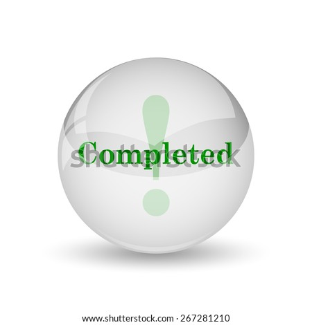 Completed icon. Internet button on white background.