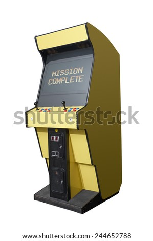 Completed message on a retro arcade isolated on white