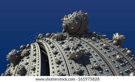 Complex abstract fractal like spheres on a background of blue sky - stock photo