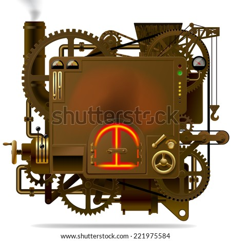 Complex fantastic machine with stove, gears, levers, pipes and other machinery. Symbol of industry, energy and power - stock photo