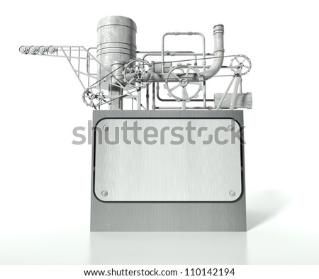 Complex machine with gears, pipes and empty board for text - stock photo