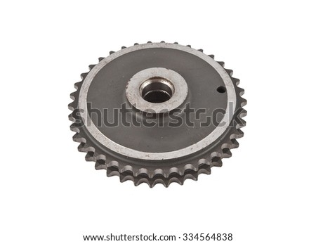 complex metal sprocket isolated on white