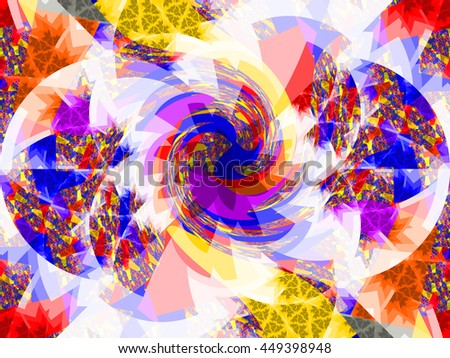 Complex multicolor fractal background of swirling spiral polygons. - stock photo