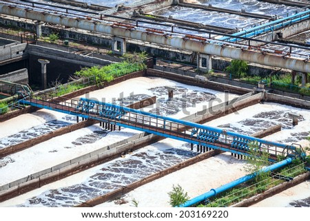Complex of sewage treatment basins for water recycling - stock photo