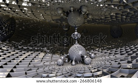 Complex three-dimensional fractal like a molecular connection between two surfaces - stock photo