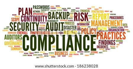 Compliance and audit in word tag cloud on white - stock photo