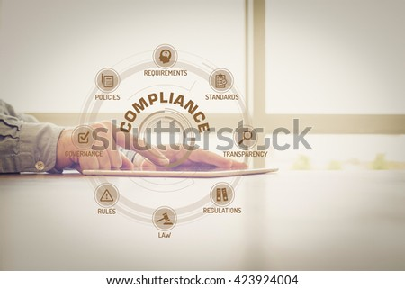 COMPLIANCE chart with keywords and icons on screen - stock photo