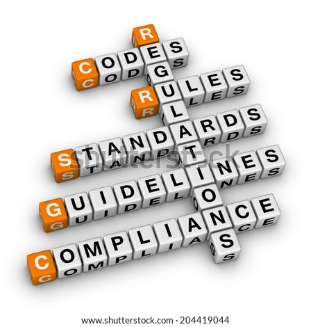 compliance (orange-white crossword puzzles series) - stock photo